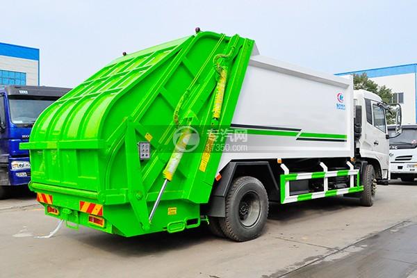 东风天锦压缩式垃圾车12-14方侧后方图