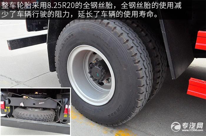 江淮骏铃希尔博4吨直臂随车吊评测之外观轮胎备胎