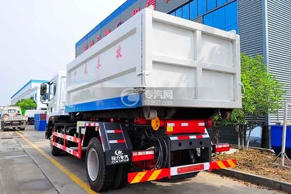 东风多利卡D9勾臂式垃圾车侧后方图