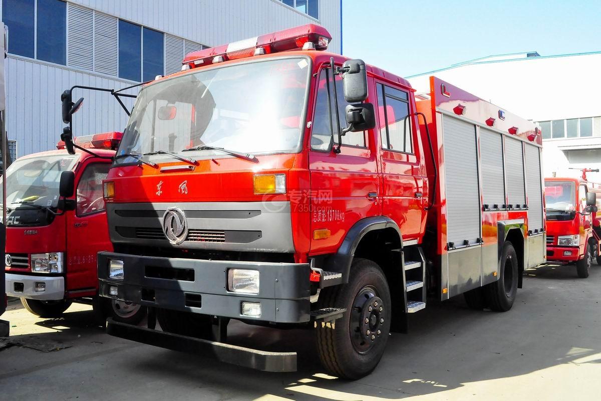 东风153双排座5.2方水罐消防车左前45度图