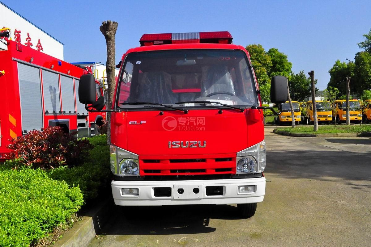 五十铃双排座ELF水罐消防车正面图
