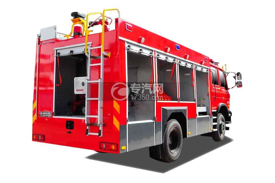东风153双排座5.2方水罐消防车侧后方图