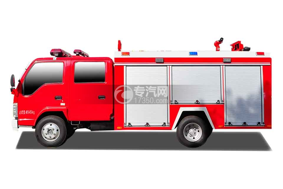 五十铃双排座ELF水罐消防车侧面图