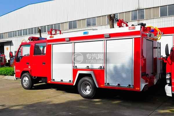 五十铃双排座ELF水罐消防车侧后方图