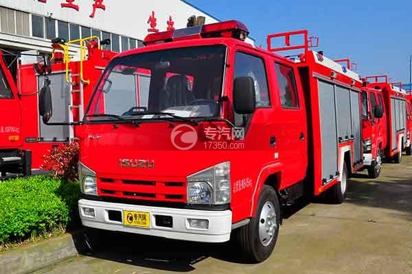 五十铃双排座ELF水罐消防车左前45度图