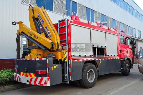 重汽HOWO单桥抢险救援消防车侧后方图