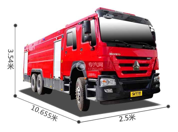 重汽豪沃380後�p�蛩�罐消防�尺寸�D