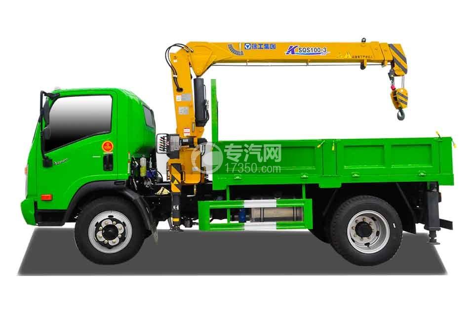 大运奥普力蓝牌徐工4吨直臂随车吊(绿)左侧图