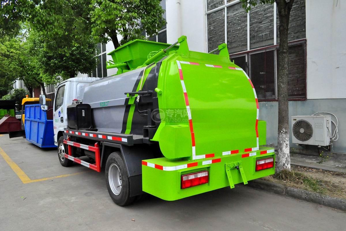 东风多利卡6方餐厨式垃圾车侧后方图