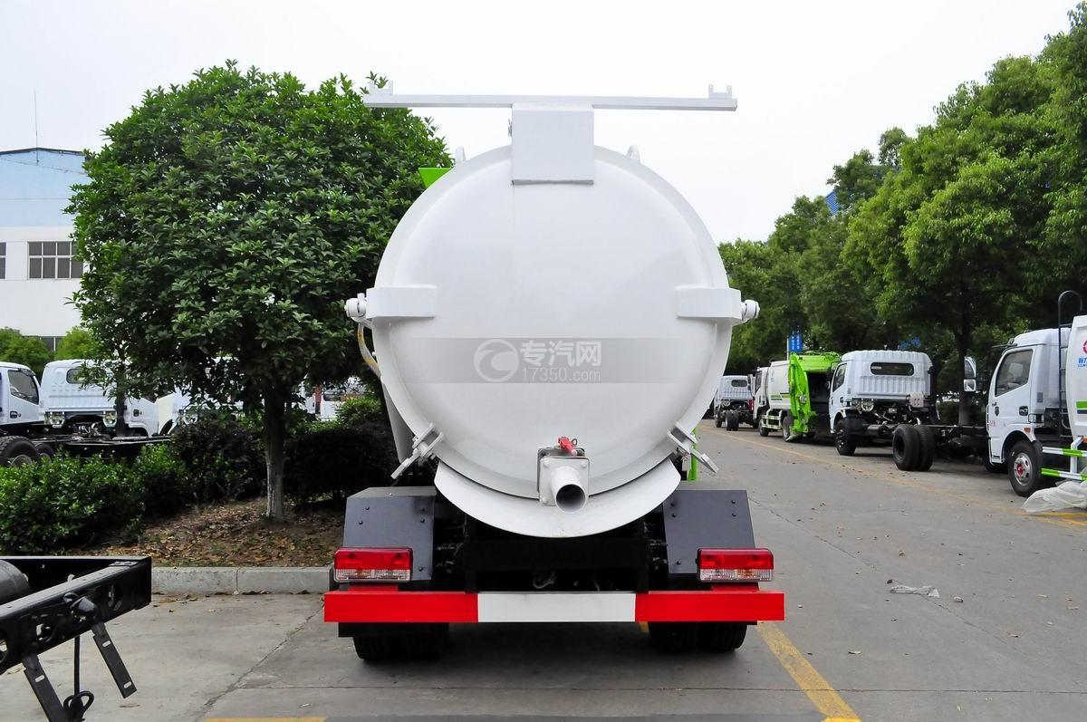 东风多利卡8方餐厨式垃圾车正后方图