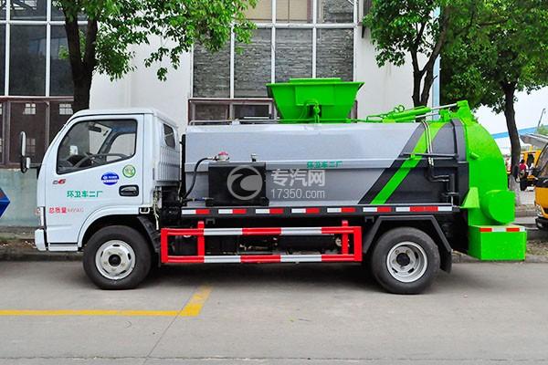 东风多利卡6方厢式餐厨垃圾车侧面图