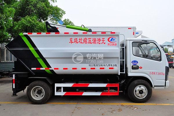 东风多利卡国六压缩式垃圾车侧面图