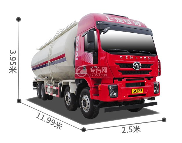 红岩杰狮M500前四后八粉粒物料运输车外观尺寸图