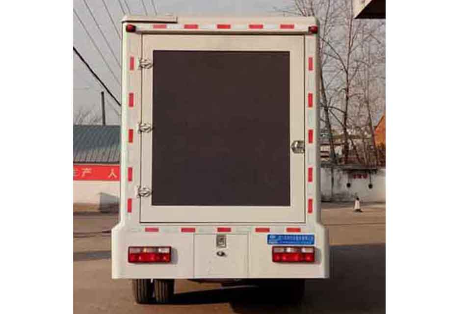 解放龙V单排国六LED广告宣传车正后方图