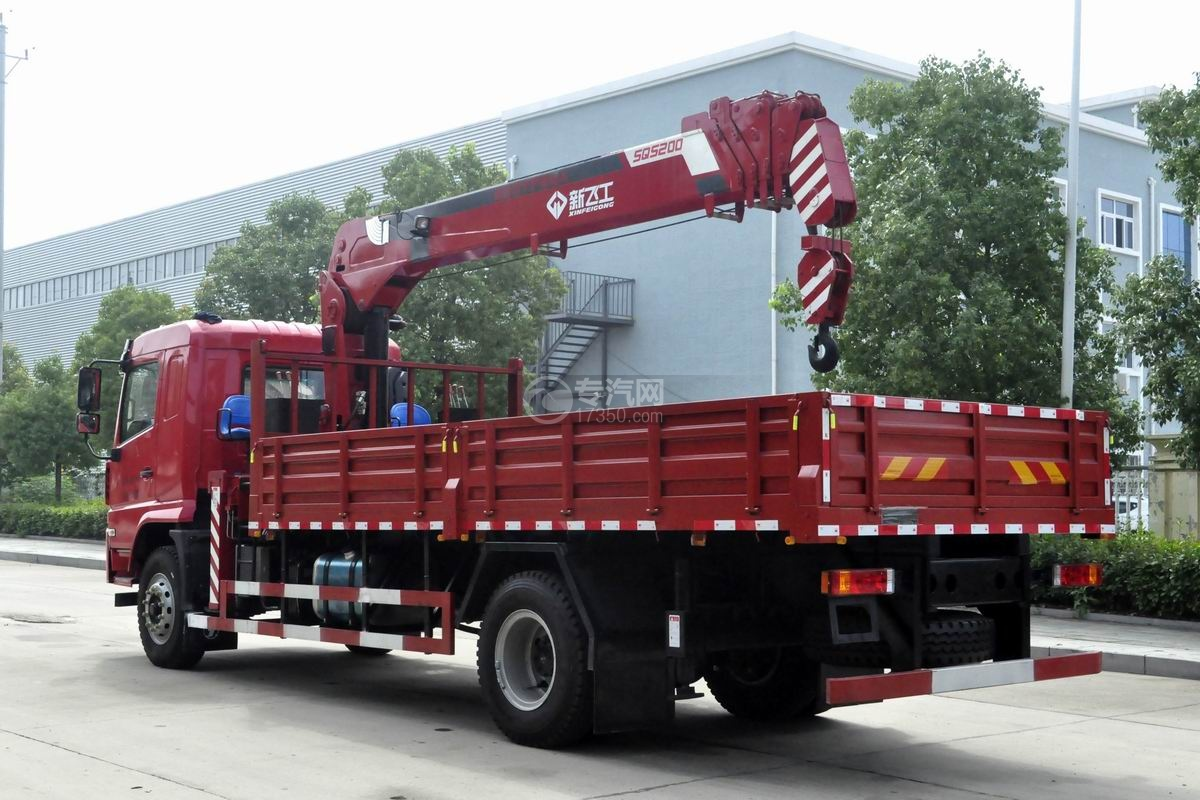 陕汽轩德X6单桥新飞工8吨直臂随车吊左后45度图