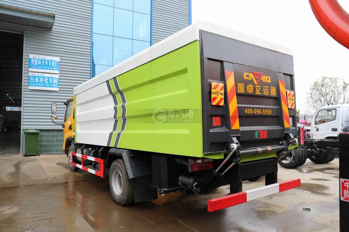 江淮骏铃V7国六密闭式桶装垃圾运输车侧后方图
