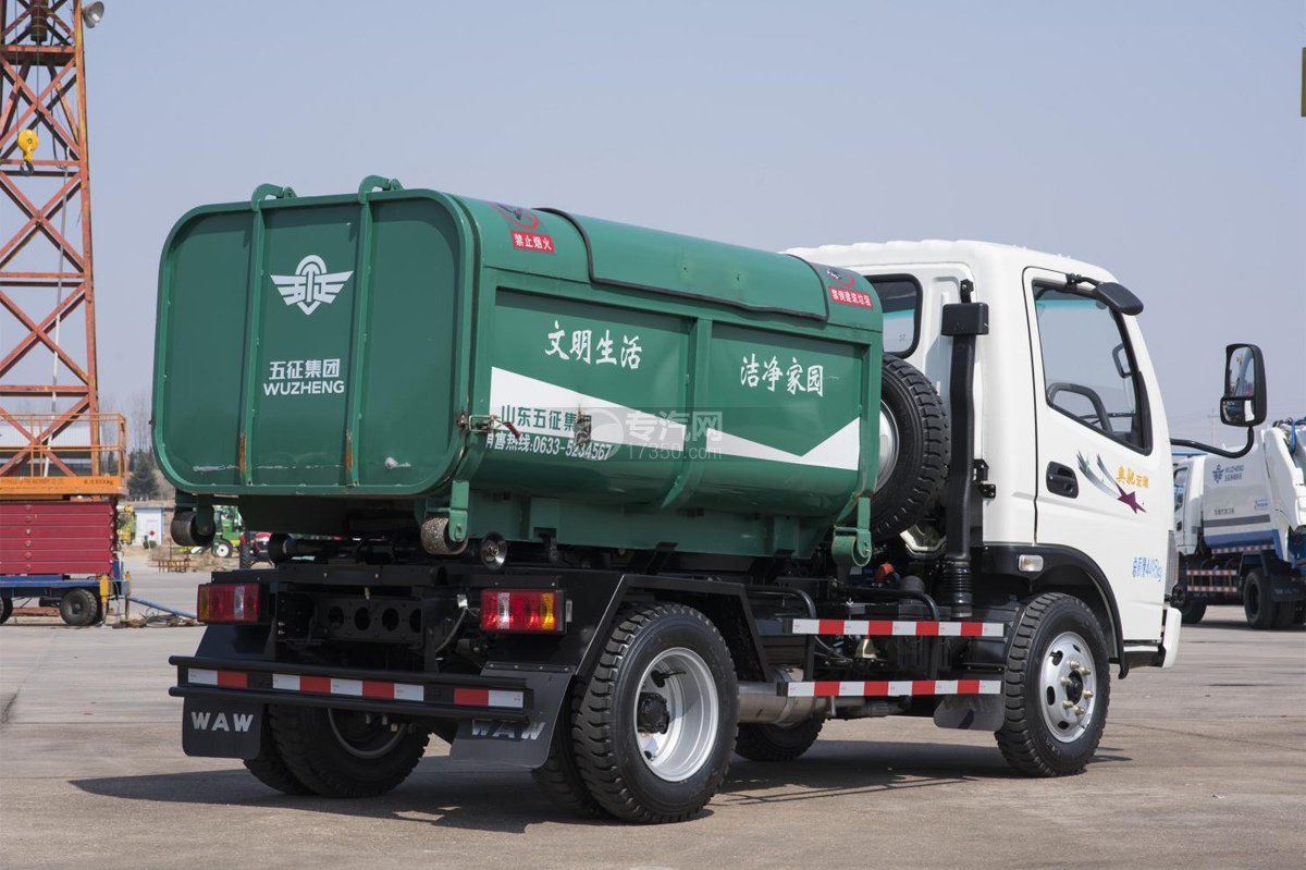 奧馳宏瑞藍牌車廂可卸式垃圾車右后圖