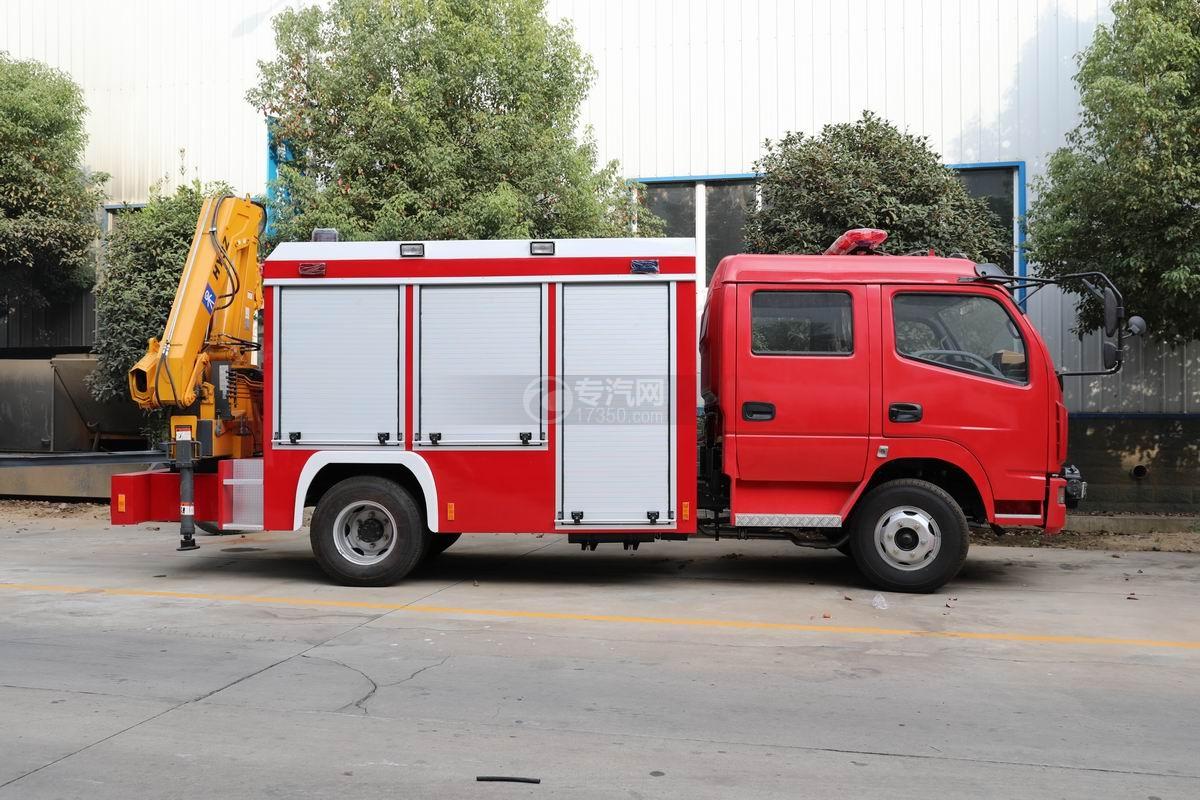 东风多利卡双排抢险救援消防车侧面图