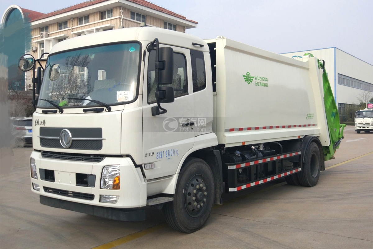 东风天锦12.5方压缩垃圾车左前45度图