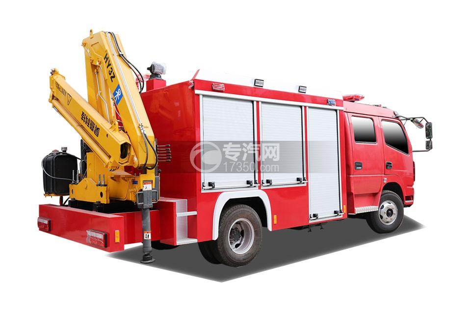 东风多利卡双排抢险救援消防车侧后方图
