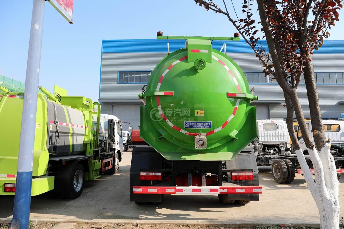 國六東風多利卡D9餐廚式垃圾車正后方圖