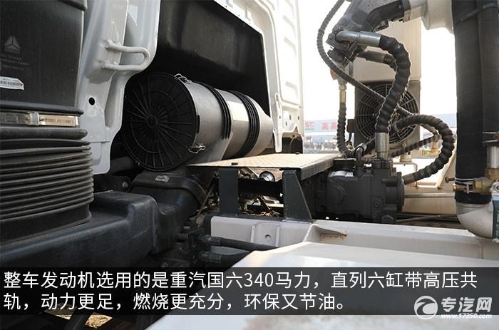 汕德卡C5H国六前四后八搅拌车评测发动机