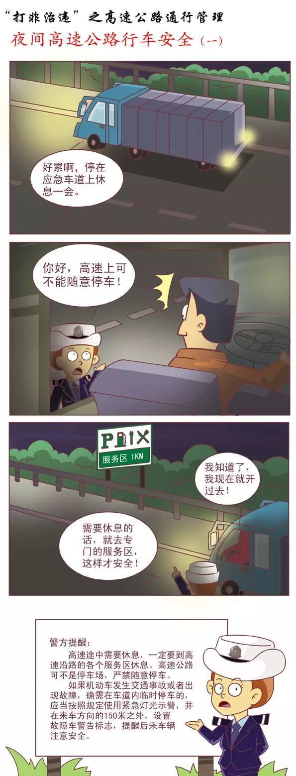 夜間高速行車安全 交警小課堂漫畫版