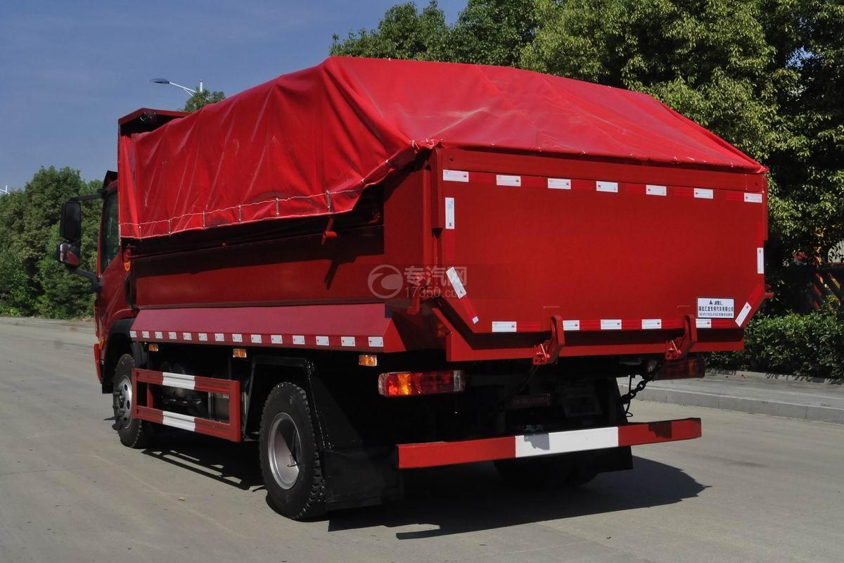 大运祥龙国六自卸式垃圾车侧后方图