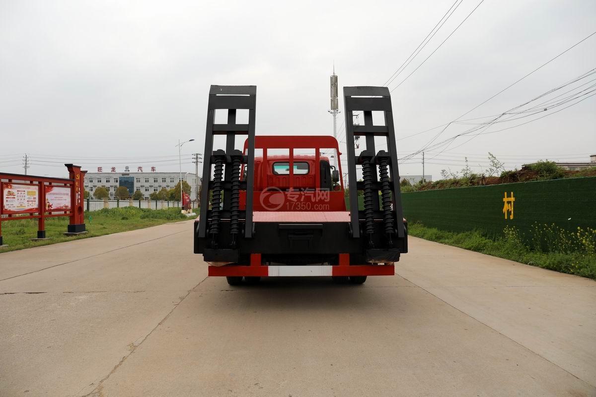 大運奧普力3.9米排半平板運輸車正后方圖
