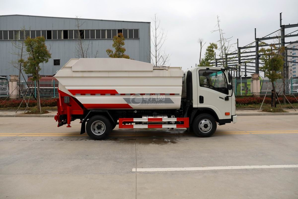 大運新奧普力國六自裝卸式垃圾車側面圖