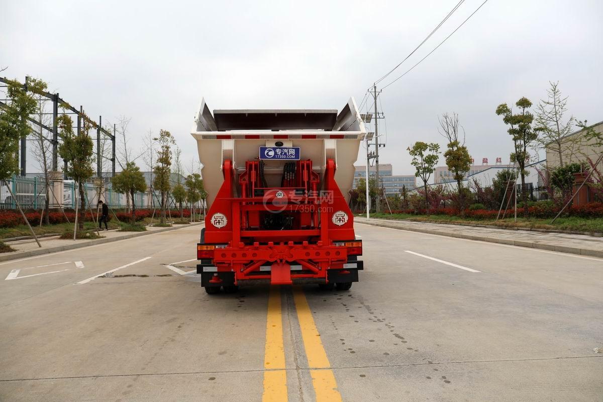 大運新奧普力國六自裝卸式垃圾車正后方圖