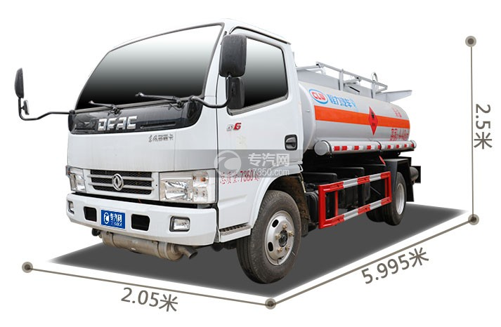 东风多利卡D6国五4.48方加油车外观尺寸