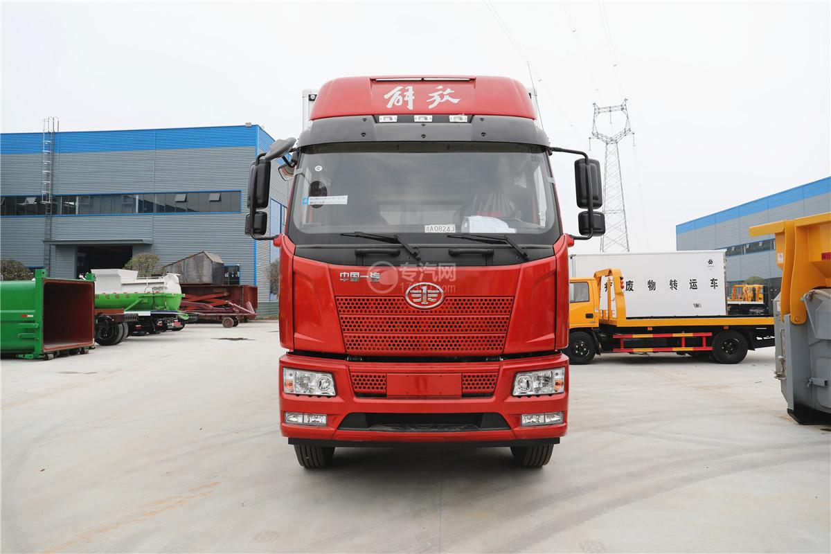解放J6小三轴国五8.7米冷藏车车前图