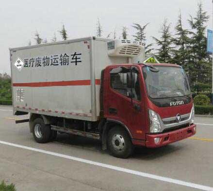 福田奥铃国五4.085米医疗废物转运车右前图