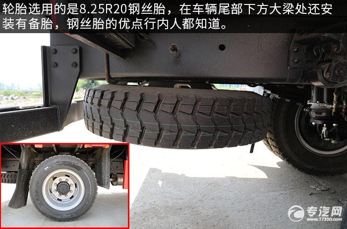 大运奥普力排半国六5吨直臂随车吊评测轮胎