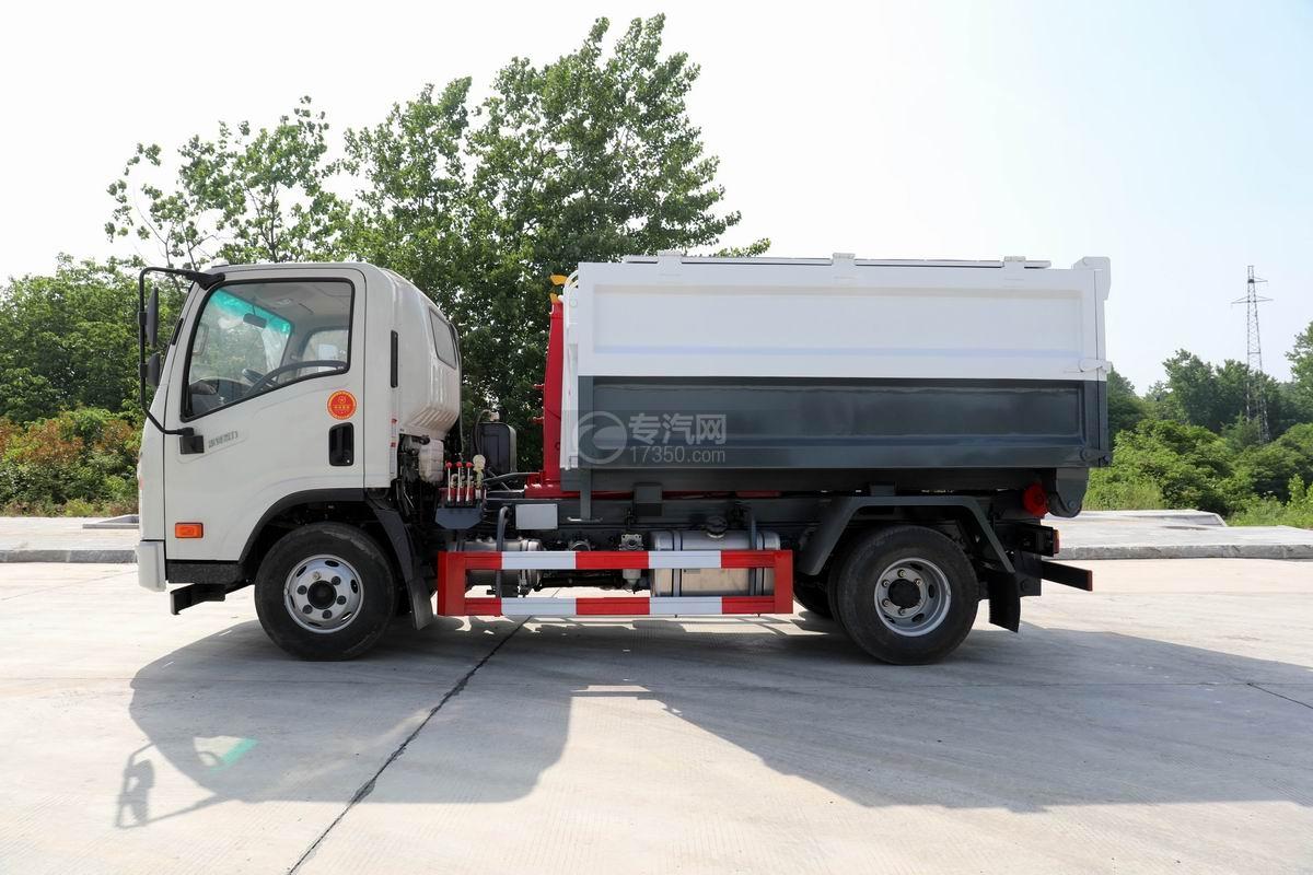 大运新奥普力单排国六车厢可卸式垃圾车侧面图