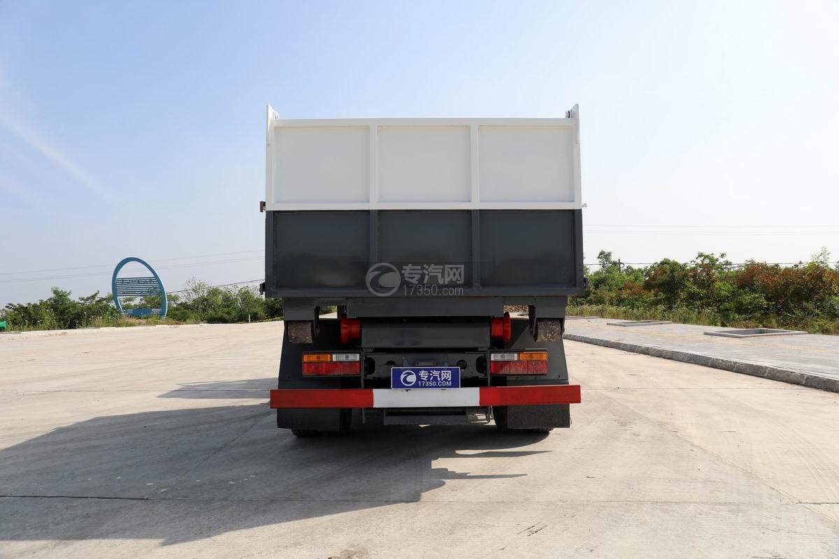 大运新奥普力单排国六车厢可卸式垃圾车正后方图