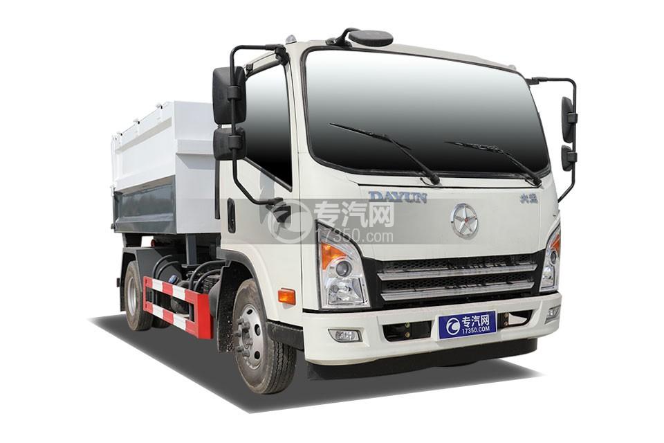 大运新奥普力单排国六车厢可卸式垃圾车右前45度图