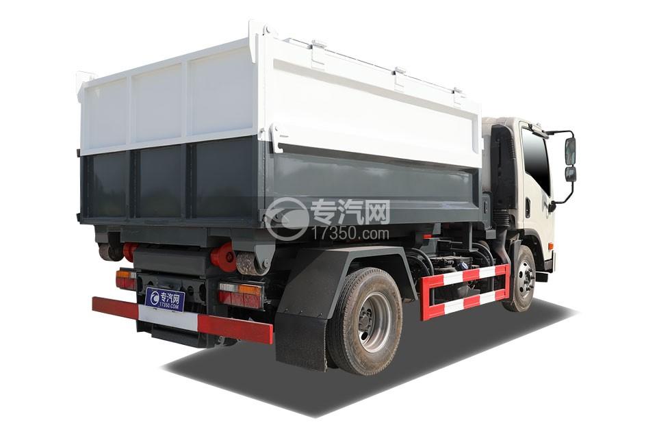 大运新奥普力单排国六车厢可卸式垃圾车侧后方图