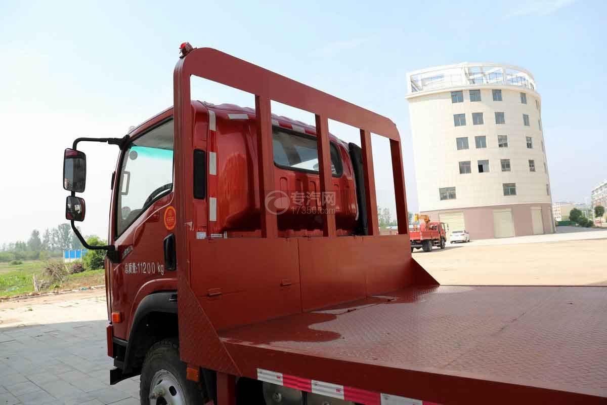 大运新奥普力国六单排平板运输车上装龙门架