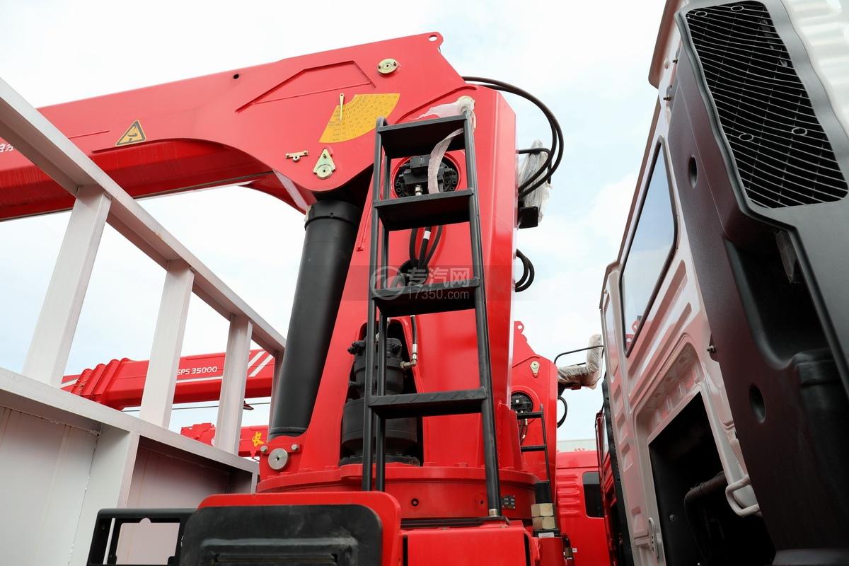 陕汽德龙新M3000前四后八国六14吨直臂随车吊安全梯