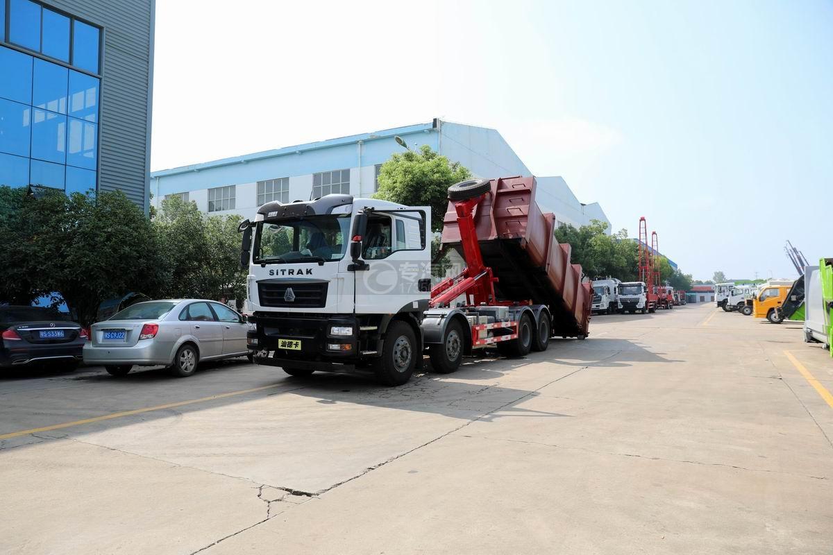 重汽汕德卡前四后八国六车厢可卸式垃圾车