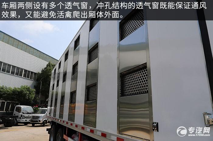 福田歐曼前四后八國六畜禽運輸車評測通風窗