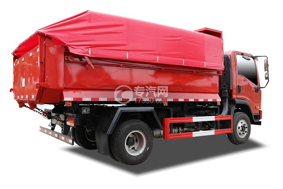 大运新奥普力单排国六自卸式垃圾车侧后方图