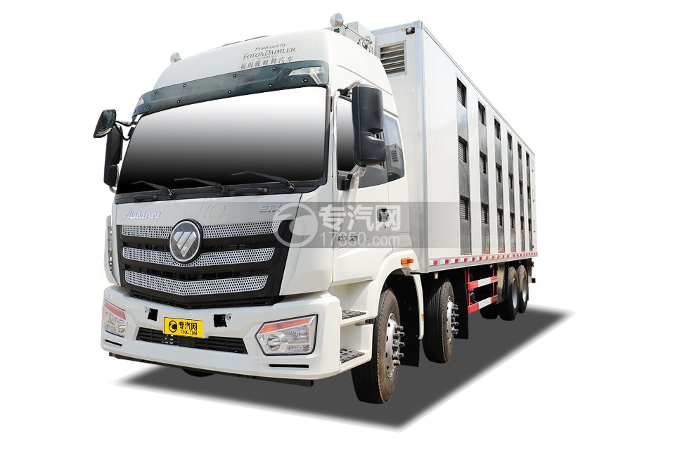 福田欧曼前四后八国六畜禽运输车左前图
