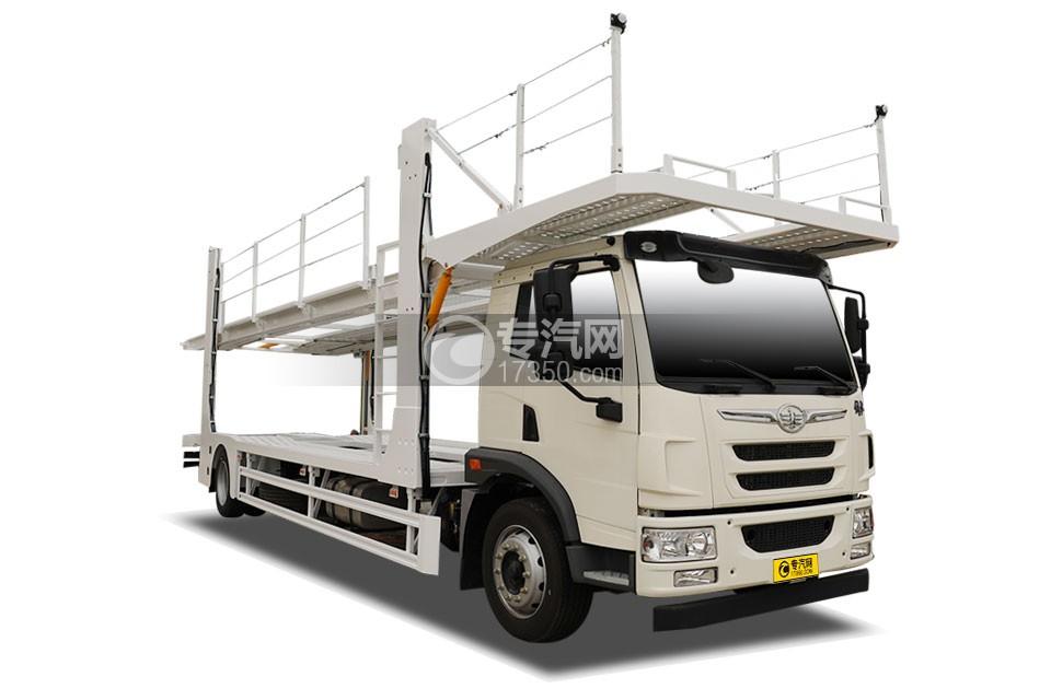 解放龙V单桥轿运车(白色)
