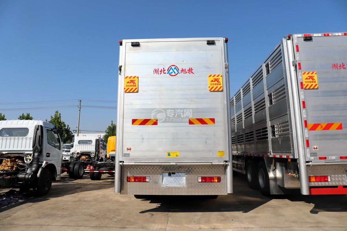 东风天龙KL前四后八国六畜禽运输车正后图
