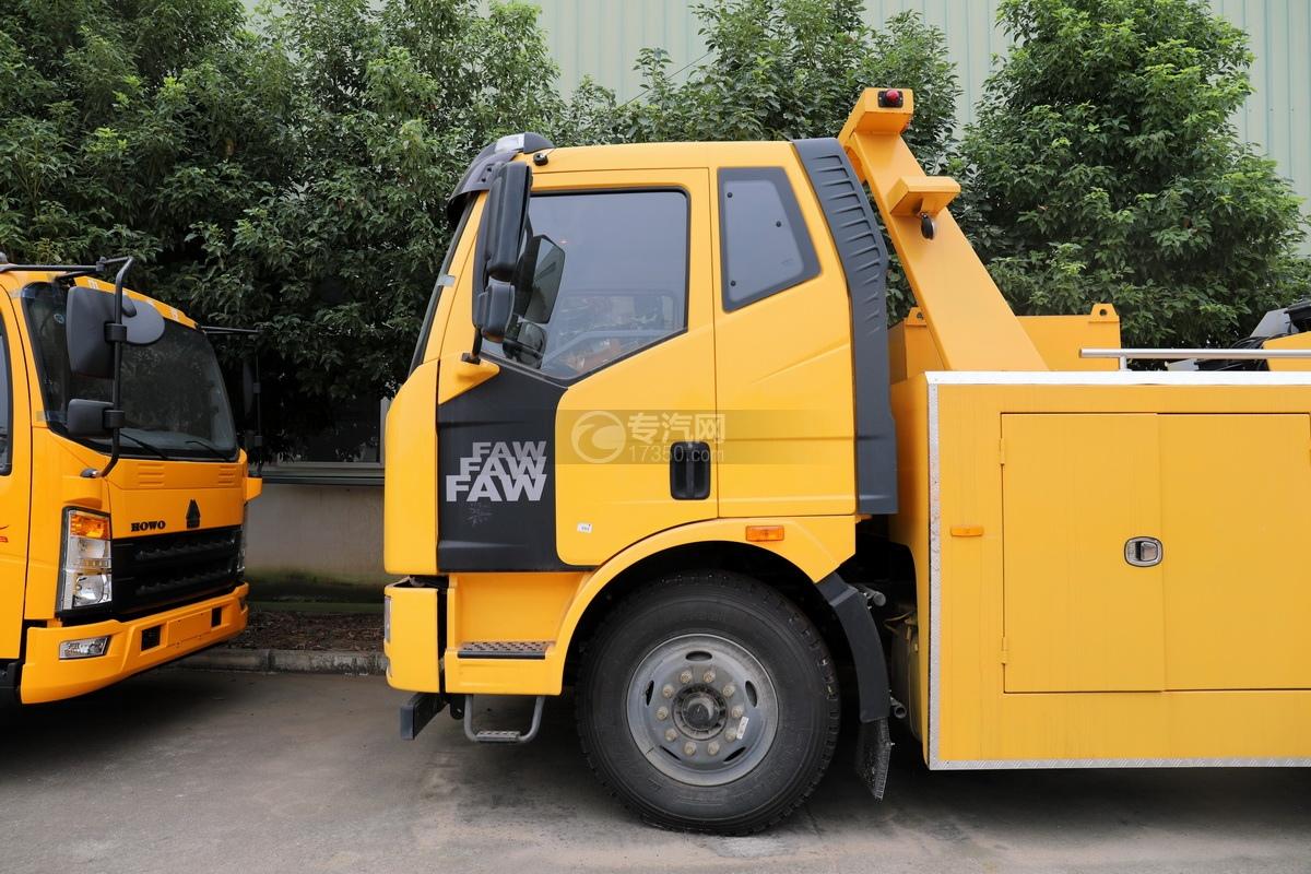 解放J6L单桥国五拖吊联体清障车(黄色)驾驶室外观