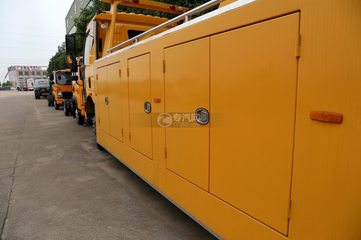 解放J6L单桥国五拖吊联体清障车(黄色)货箱细节