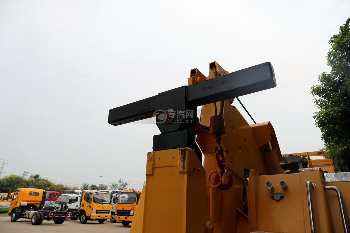 解放J6L单桥国五拖吊联体清障车(黄色)后托臂细节